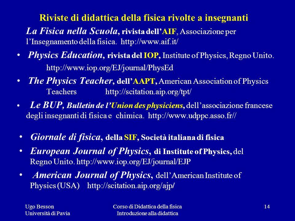 Riviste di didattica della fisica rivolte a insegnanti La Fisica nella Scuola, rivista dellAIF, Associazione per lInsegnamento della fisica. http://ww