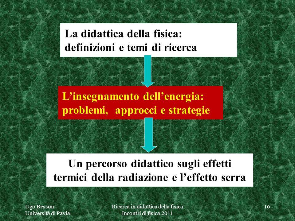 La didattica della fisica: definizioni e temi di ricerca Linsegnamento dellenergia: problemi, approcci e strategie Un percorso didattico sugli effetti