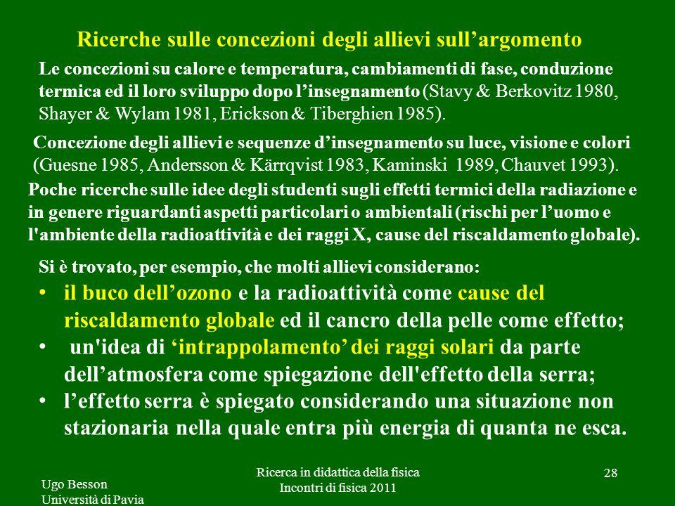 Ugo Besson Università di Pavia Ricerca in didattica della fisica Incontri di fisica 2011 28 Ricerche sulle concezioni degli allievi sullargomento Le c