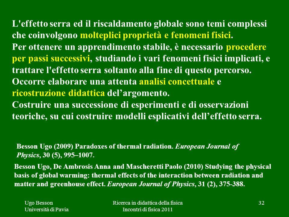 Ugo Besson Università di Pavia Ricerca in didattica della fisica Incontri di fisica 2011 L'effetto serra ed il riscaldamento globale sono temi comples