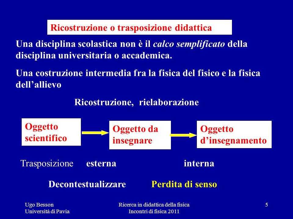 Ricerca in didattica della fisica Incontri di fisica 2011 Ugo Besson Università di Pavia Una disciplina scolastica non è il calco semplificato della d