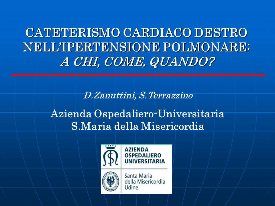 CATETERISMO CARDIACO DESTRO NELLIPERTENSIONE POLMONARE: A CHI, COME, QUANDO ? D.Zanuttini, S.Terrazzino Azienda Ospedaliero-Universitaria S.Maria dell