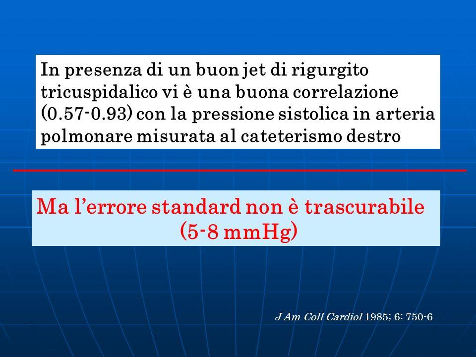 In presenza di un buon jet di rigurgito tricuspidalico vi è una buona correlazione (0.57-0.93) con la pressione sistolica in arteria polmonare misurat