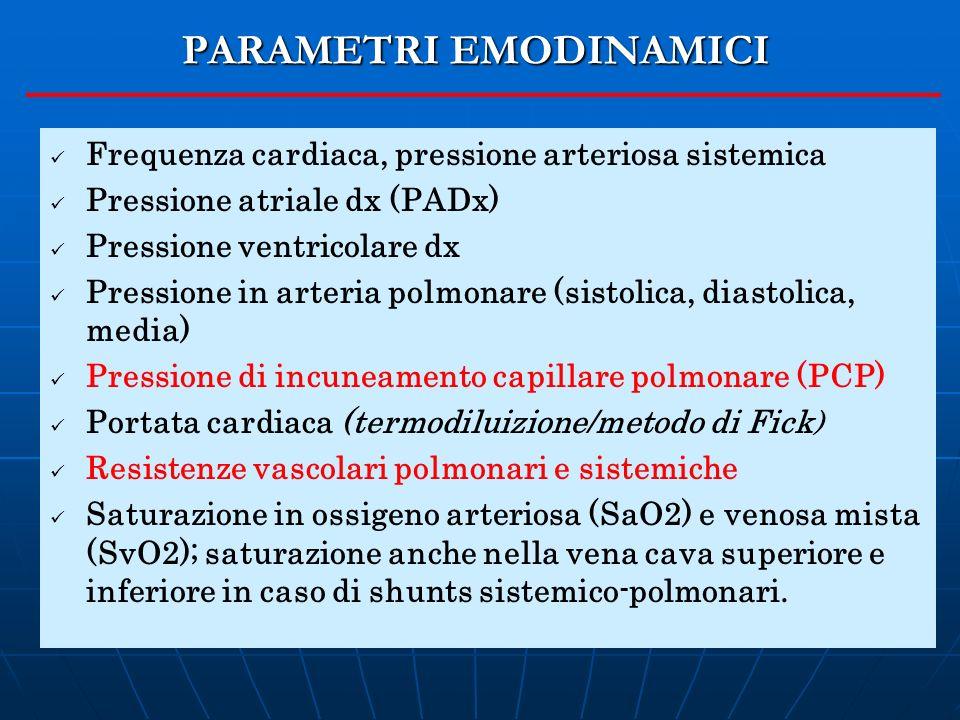 Frequenza cardiaca, pressione arteriosa sistemica Pressione atriale dx (PADx) Pressione ventricolare dx Pressione in arteria polmonare (sistolica, dia