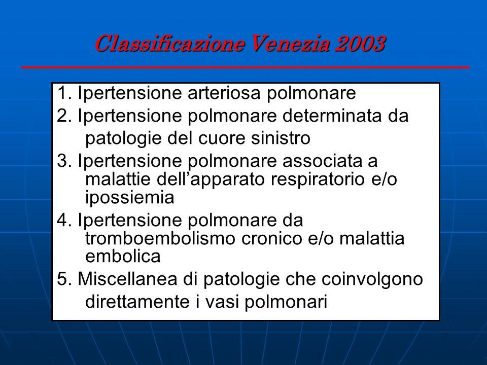 Classificazione Venezia 2003 1. Ipertensione arteriosa polmonare 2. Ipertensione polmonare determinata da patologie del cuore sinistro 3. Ipertensione
