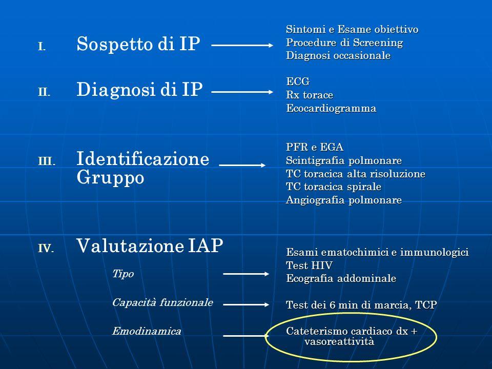 I. I. Sospetto di IP II. II. Diagnosi di IP III. III. Identificazione Gruppo IV. IV. Valutazione IAP Sintomi e Esame obiettivo Procedure di Screening