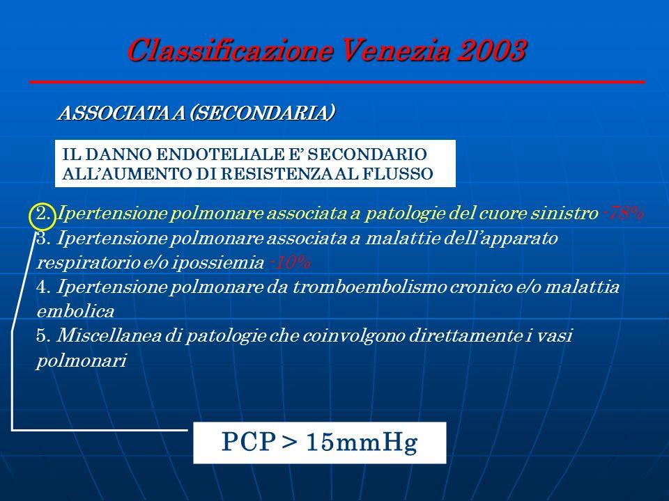 Classificazione Venezia 2003 ASSOCIATA A (SECONDARIA) IL DANNO ENDOTELIALE E SECONDARIO ALLAUMENTO DI RESISTENZA AL FLUSSO 2. Ipertensione polmonare a