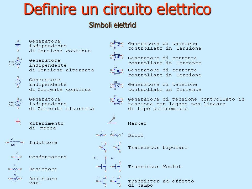 Definire un circuito elettrico Simboli elettrici Simboli elettrici