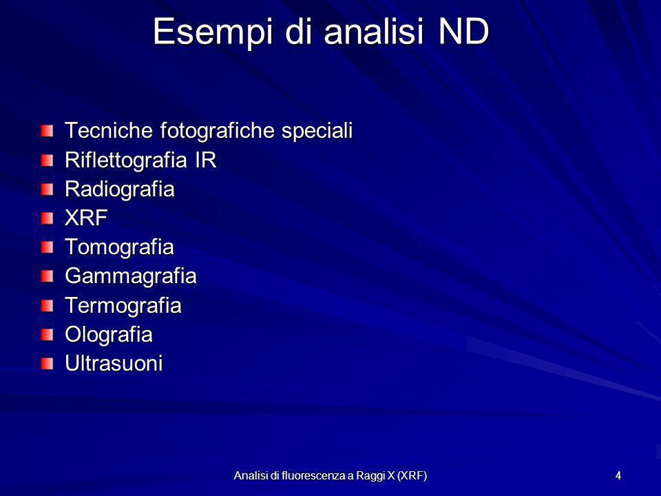 Analisi di fluorescenza a Raggi X (XRF) 4 Esempi di analisi ND Tecniche fotografiche speciali Riflettografia IR RadiografiaXRFTomografiaGammagrafiaTer