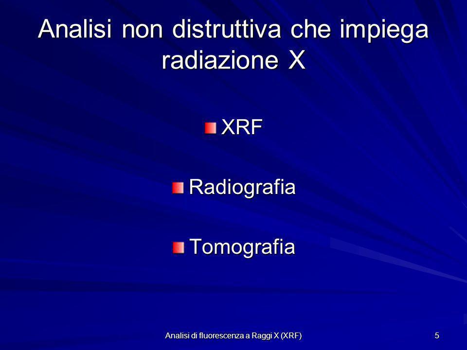 Analisi di fluorescenza a Raggi X (XRF) 5 Analisi non distruttiva che impiega radiazione X XRFRadiografiaTomografia