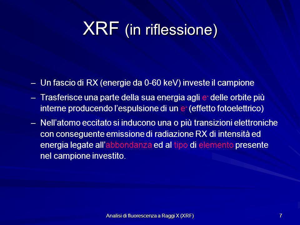 Analisi di fluorescenza a Raggi X (XRF) 7 XRF (in riflessione) – –Un fascio di RX (energie da 0-60 keV) investe il campione – –Trasferisce una parte d
