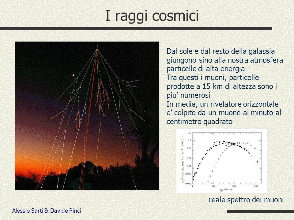 Alessio Sarti & Davide Pinci I raggi cosmici Dal sole e dal resto della galassia giungono sino alla nostra atmosfera particelle di alta energia Tra questi i muoni, particelle prodotte a 15 km di altezza sono i piu numerosi In media, un rivelatore orizzontale e colpito da un muone al minuto al centimetro quadrato reale spettro dei muoni