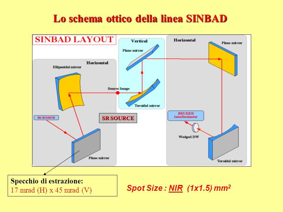 Lo schema ottico della linea SINBAD Specchio di estrazione: 17 mrad (H) x 45 mrad (V) SR SOURCE Spot Size : NIR (1x1.5) mm 2