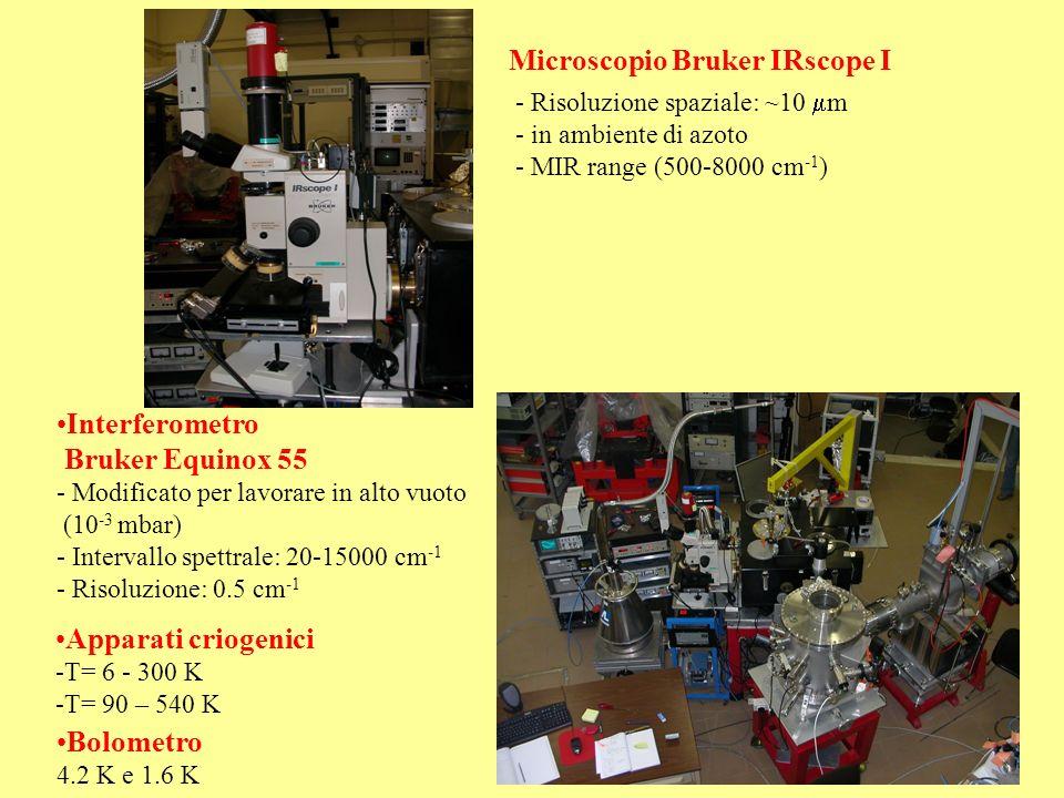 Microscopio Bruker IRscope I - Risoluzione spaziale: ~10 m - in ambiente di azoto - MIR range (500-8000 cm -1 ) Interferometro Bruker Equinox 55 - Mod