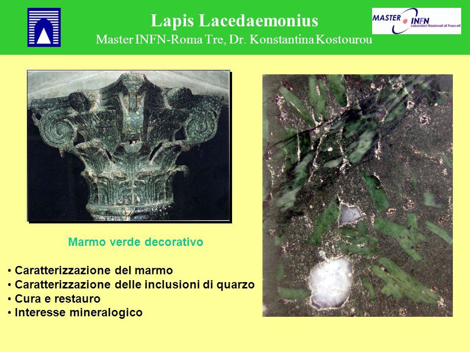 Lapis Lacedaemonius Master INFN-Roma Tre, Dr. Konstantina Kostourou Marmo verde decorativo Caratterizzazione del marmo Caratterizzazione delle inclusi
