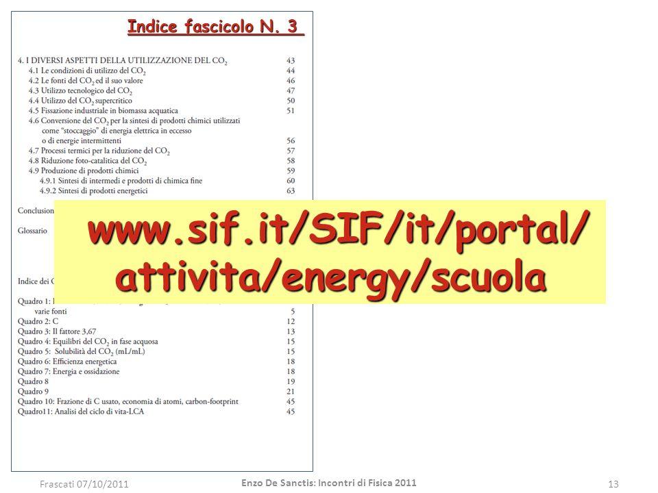 Indice fascicolo N. 3 Frascati 07/10/201113 Enzo De Sanctis: Incontri di Fisica 2011 www.sif.it/SIF/it/portal/ attivita/energy/scuola