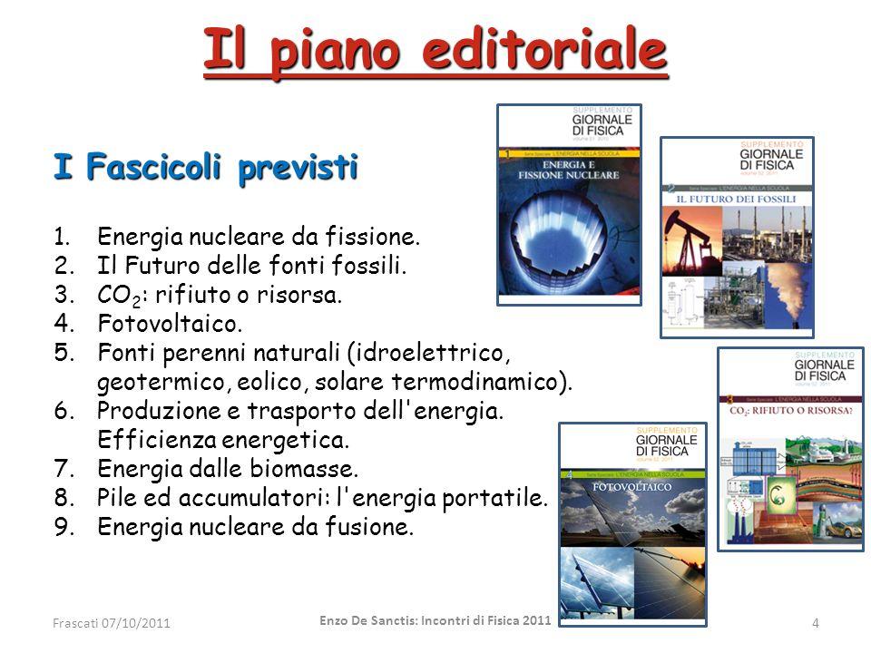 Il piano editoriale I Fascicoli previsti 1.Energia nucleare da fissione. 2.Il Futuro delle fonti fossili. 3.CO 2 : rifiuto o risorsa. 4.Fotovoltaico.