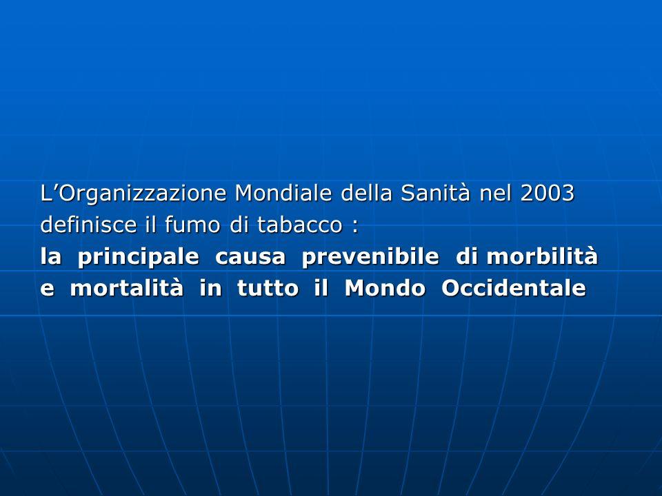 In Italia su 700 mila decessi lanno, 84 mila sono attribuibili al fumo di tabacco ( PSN 2003-2005 ) I costi dellassistenza ospedaliera per i pazienti con patologie fumo correlate ( neoplastiche, cardiovascolari, polmonari ) ammontano a 5 miliardi di euro lanno.