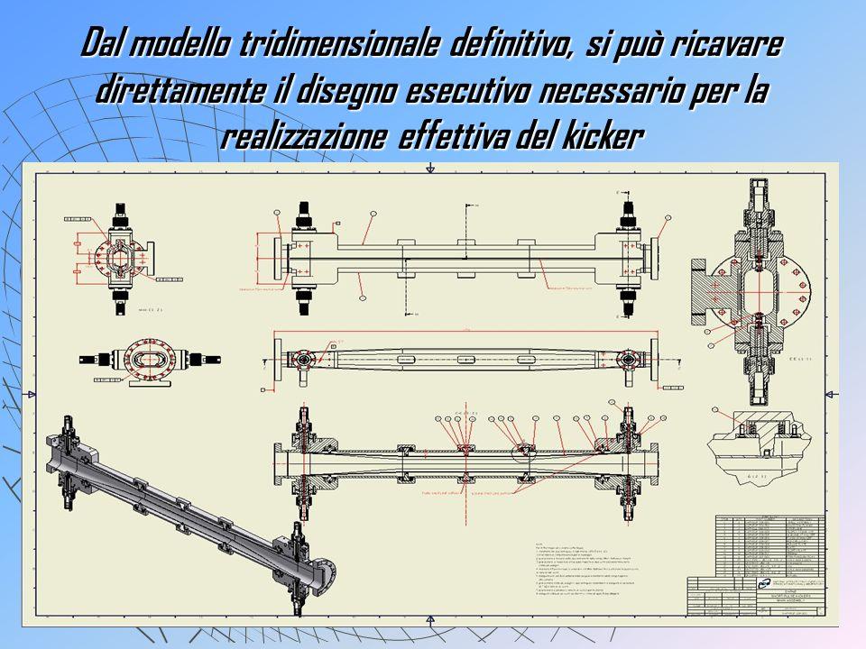 Dal modello tridimensionale definitivo, si può ricavare direttamente il disegno esecutivo necessario per la realizzazione effettiva del kicker