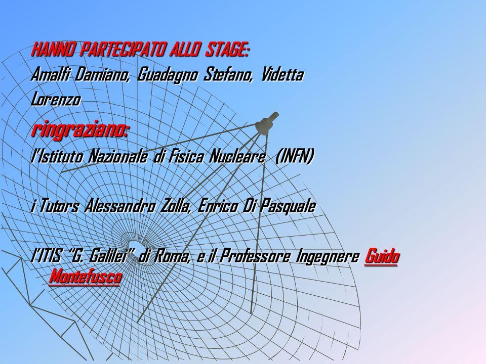 HANNO PARTECIPATO ALLO STAGE: Amalfi Damiano, Guadagno Stefano, Videtta Lorenzoringraziano: lIstituto Nazionale di Fisica Nucleare (INFN) i Tutors Ale
