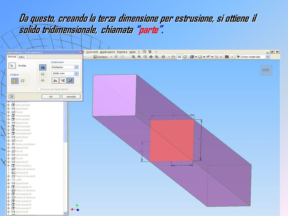 Da questo, creando la terza dimensione per estrusione, si ottiene il solido tridimensionale, chiamata Da questo, creando la terza dimensione per estru