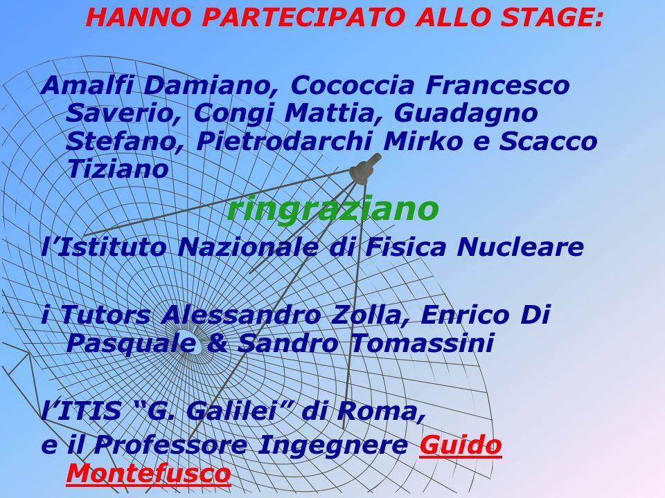 HANNO PARTECIPATO ALLO STAGE: Amalfi Damiano, Cococcia Francesco Saverio, Congi Mattia, Guadagno Stefano, Pietrodarchi Mirko e Scacco Tiziano ringrazi