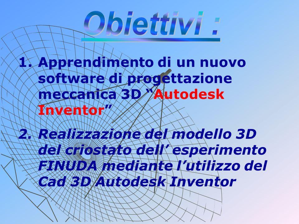 1. 1.Apprendimento di un nuovo software di progettazione meccanica 3D Autodesk Inventor 2. 2.Realizzazione del modello 3D del criostato dell esperimen