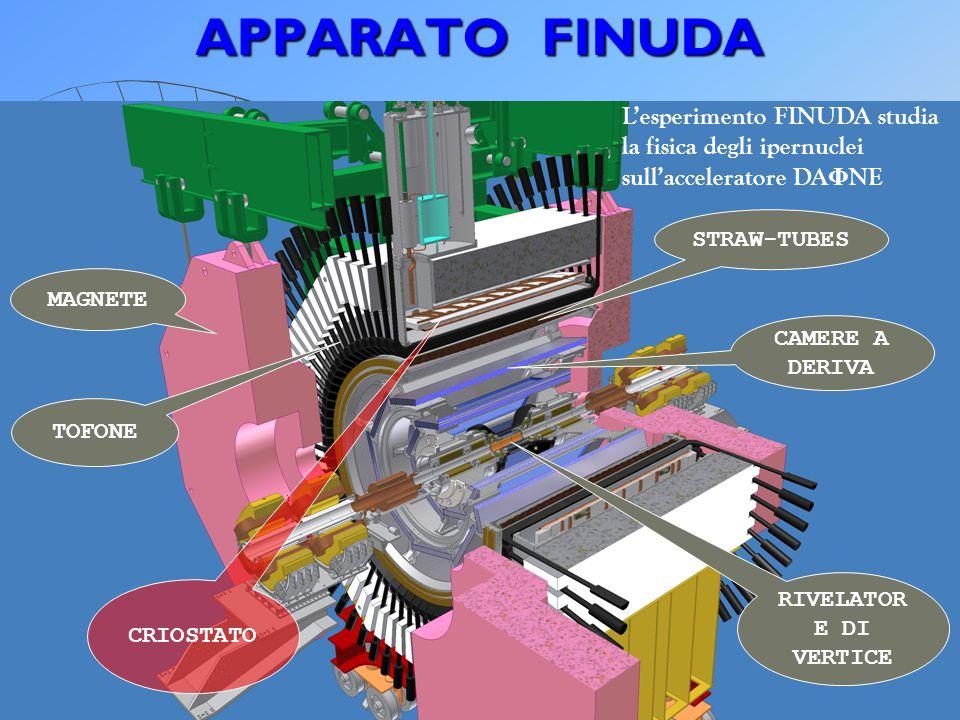 APPARATO FINUDA Lesperimento FINUDA studia la fisica degli ipernuclei sullacceleratore DA Φ NE MAGNETE TOFONE STRAW-TUBES CAMERE A DERIVA RIVELATOR E