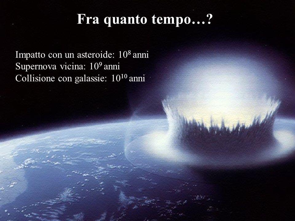 catastrofi Impatto con un asteroide: 10 8 anni Supernova vicina: 10 9 anni Collisione con galassie: 10 10 anni Fra quanto tempo…?