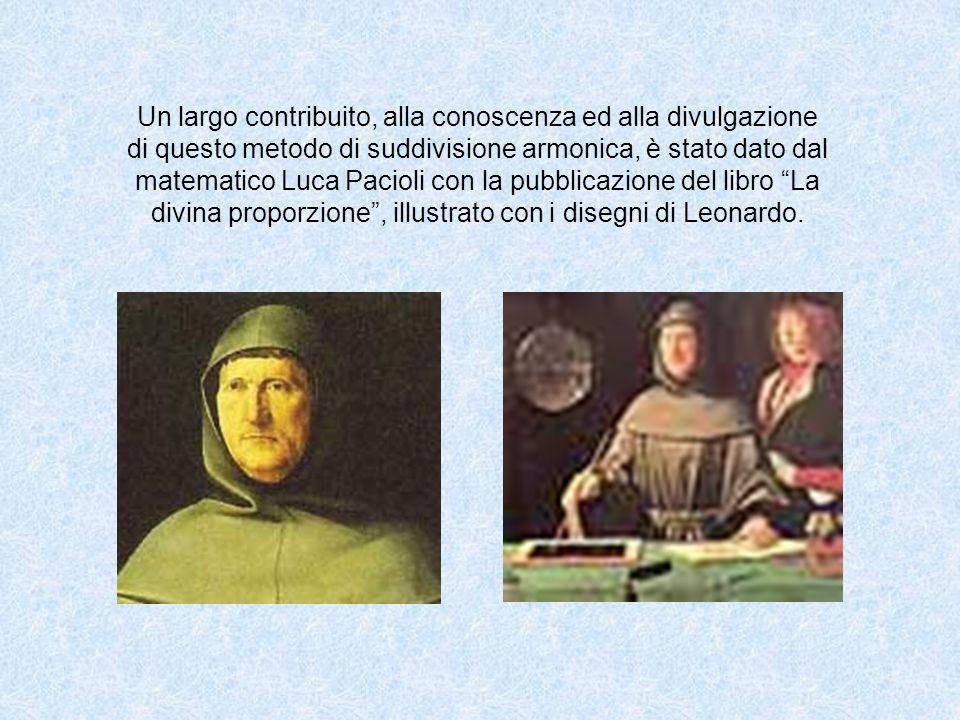 Un largo contribuito, alla conoscenza ed alla divulgazione di questo metodo di suddivisione armonica, è stato dato dal matematico Luca Pacioli con la pubblicazione del libro La divina proporzione, illustrato con i disegni di Leonardo.
