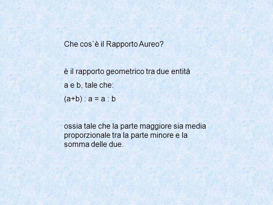 Che cos`è il Rapporto Aureo? è il rapporto geometrico tra due entità a e b, tale che: (a+b) : a = a : b ossia tale che la parte maggiore sia media pro