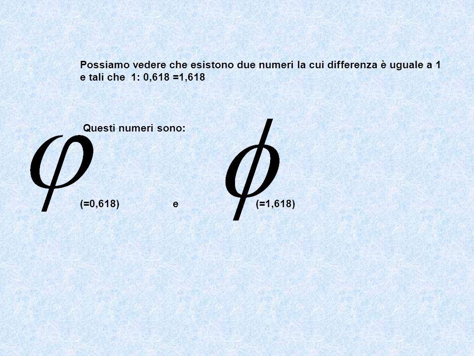 Possiamo vedere che esistono due numeri la cui differenza è uguale a 1 e tali che 1: 0,618 =1,618 Questi numeri sono: (=0,618) e (=1,618)