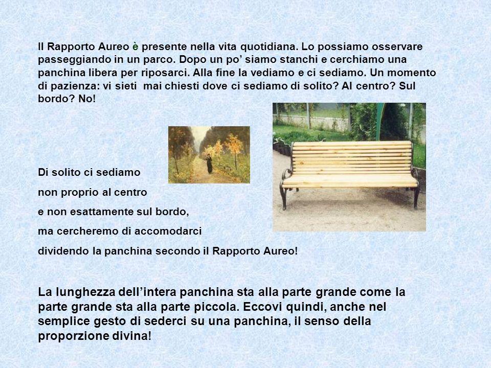 Il Rapporto Aureo è presente nella vita quotidiana. Lo possiamo osservare passeggiando in un parco. Dopo un po siamo stanchi e cerchiamo una panchina
