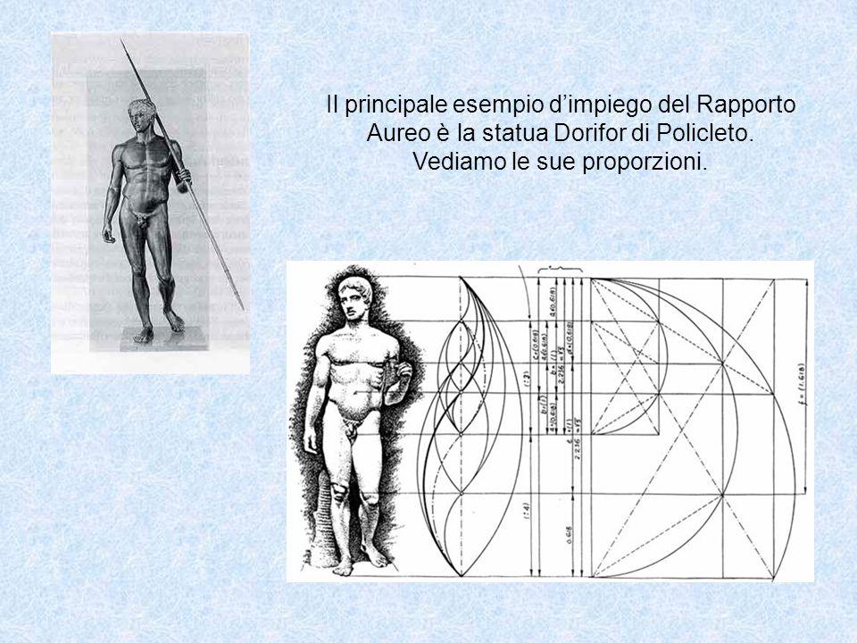 Il principale esempio dimpiego del Rapporto Aureo è la statua Dorifor di Policleto. Vediamo le sue proporzioni.