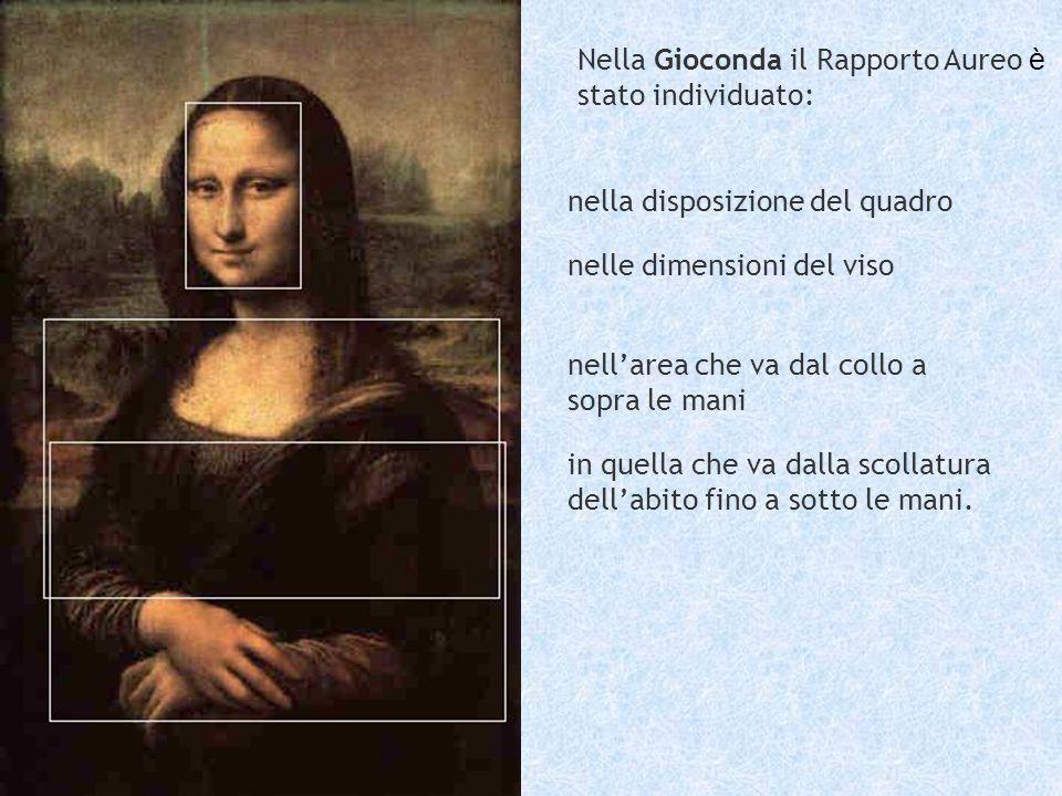Nella Gioconda il Rapporto Aureo è stato individuato: nella disposizione del quadro nelle dimensioni del viso nellarea che va dal collo a sopra le man