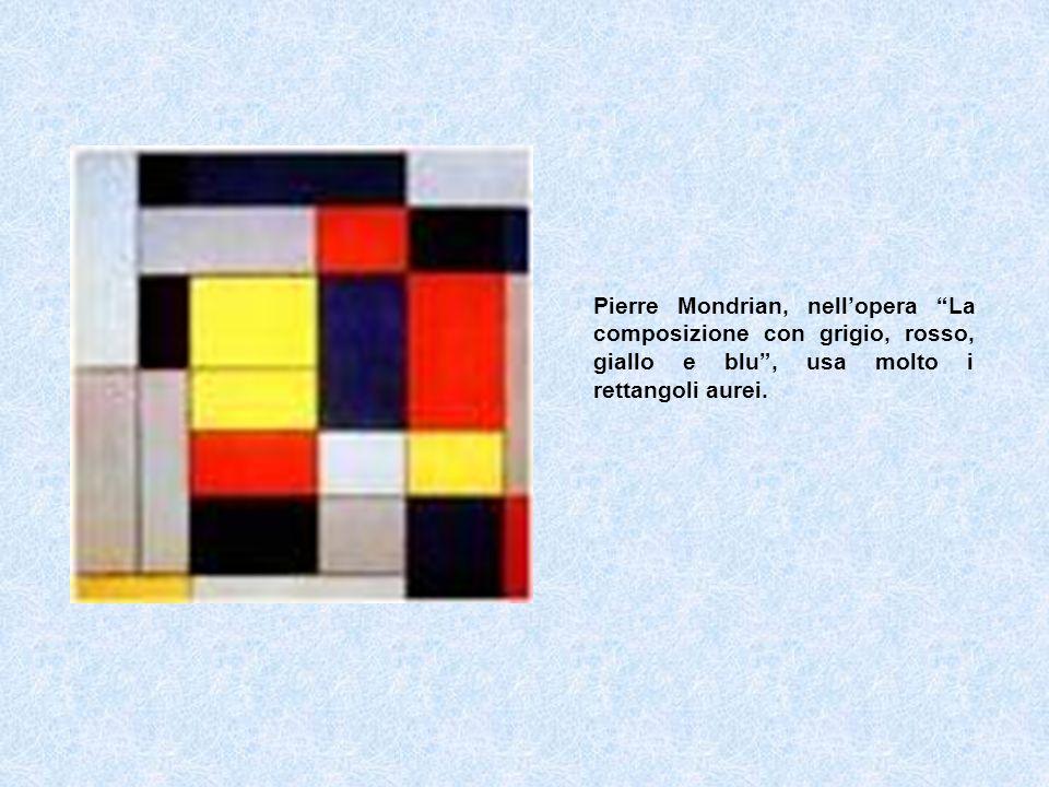 Pierre Mondrian, nellopera La composizione con grigio, rosso, giallo e blu, usa molto i rettangoli aurei.