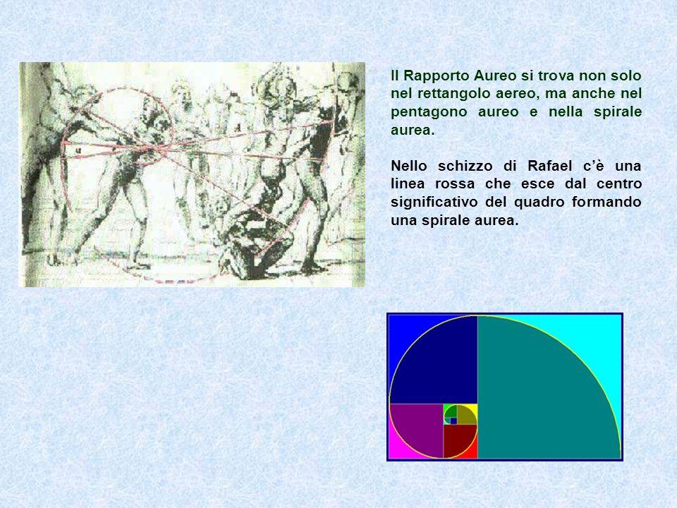 Il Rapporto Aureo si trova non solo nel rettangolo aereo, ma anche nel pentagono aureo e nella spirale aurea. Nello schizzo di Rafael c è una linea ro