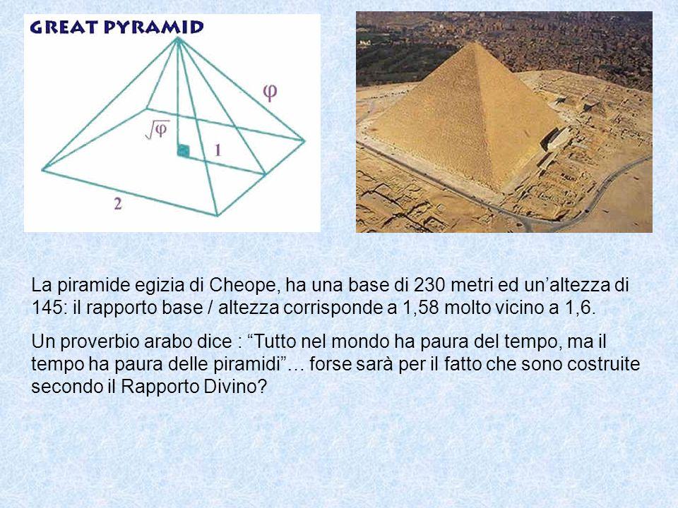 La piramide egizia di Cheope, ha una base di 230 metri ed un altezza di 145: il rapporto base / altezza corrisponde a 1,58 molto vicino a 1,6.