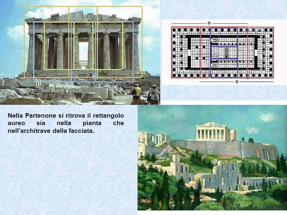 Nella Partenone si ritrova il rettangolo aureo sia nella pianta che nell architrave della facciata.