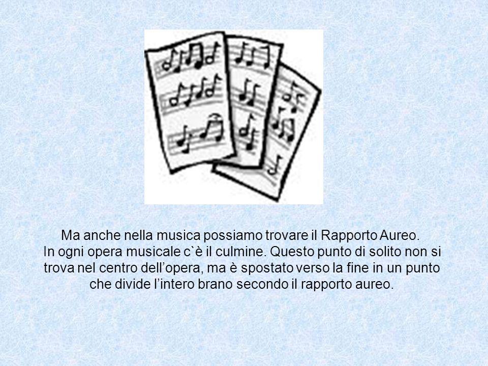 Ma anche nella musica possiamo trovare il Rapporto Aureo. In ogni opera musicale c`è il culmine. Questo punto di solito non si trova nel centro dell o