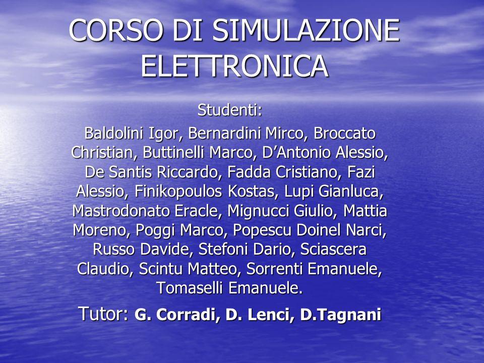 Stage 2005 Obbiettivi Corso di Simulazione elettronica Corso di Simulazione elettronica Esercitazioni tramite il simulatore Pspice Esercitazioni tramite il simulatore Pspice Simulazione di filtri (integratori e derivatori),circuiti risonanti, diodi e circuiti di polarizzazione dei transistor.