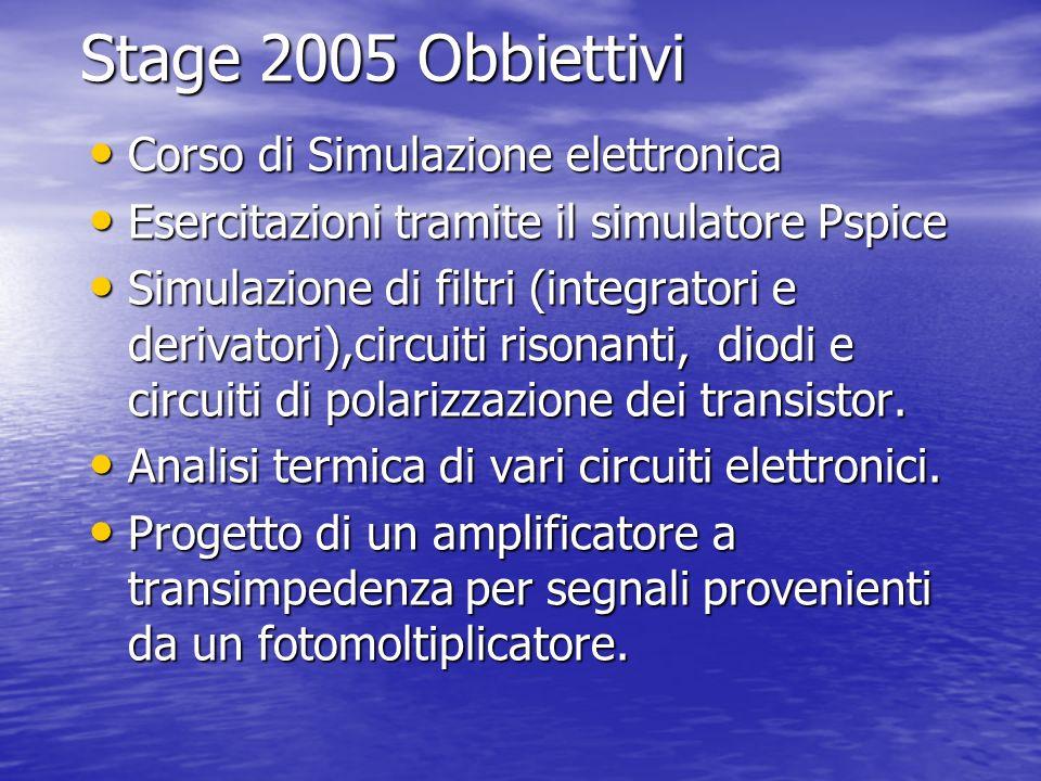 Stage 2005 Obbiettivi Corso di Simulazione elettronica Corso di Simulazione elettronica Esercitazioni tramite il simulatore Pspice Esercitazioni trami