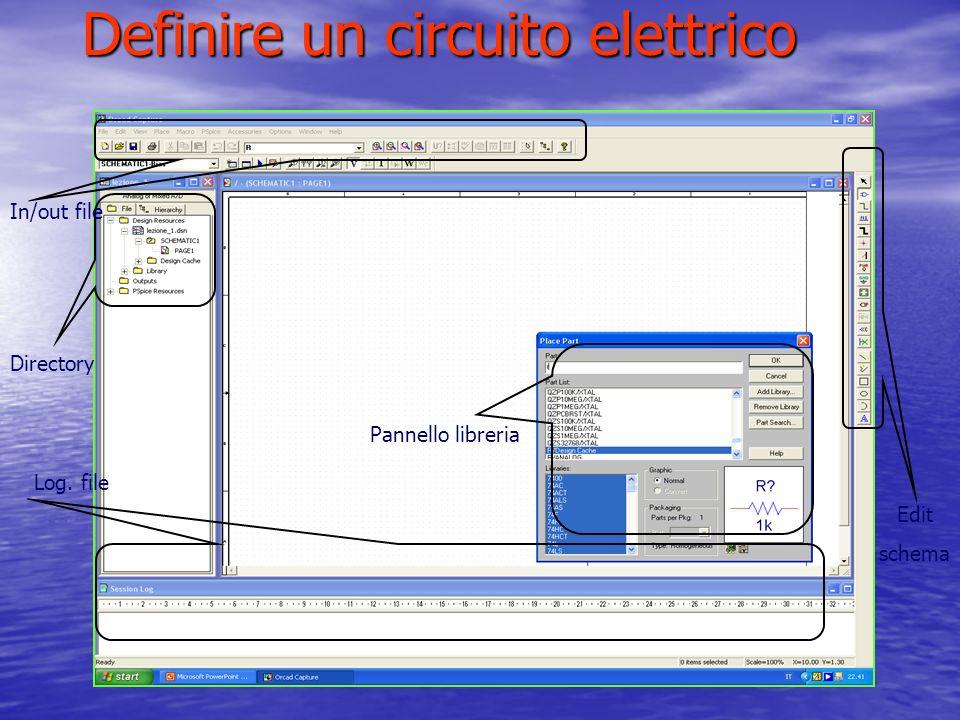 Definire un circuito elettrico Pannello libreria Directory In/out file Log. file Edit schema