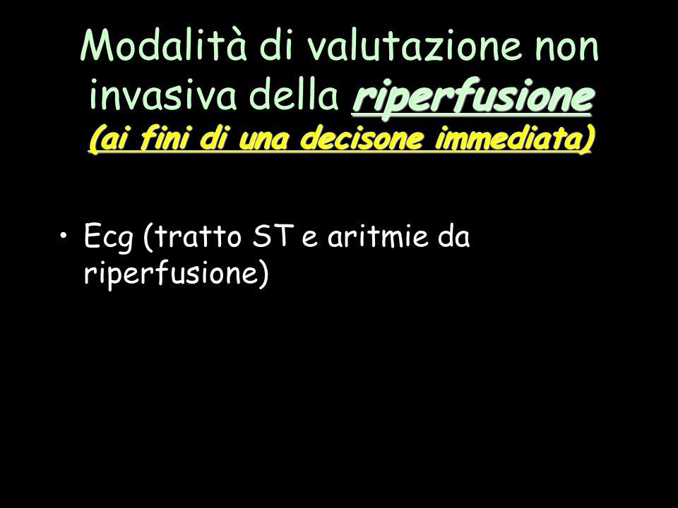 riperfusione (ai fini di una decisone immediata) Modalità di valutazione non invasiva della riperfusione (ai fini di una decisone immediata) Ecg (trat