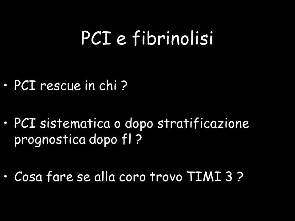 PCI e fibrinolisi PCI rescue in chi ? PCI sistematica o dopo stratificazione prognostica dopo fl ? Cosa fare se alla coro trovo TIMI 3 ?
