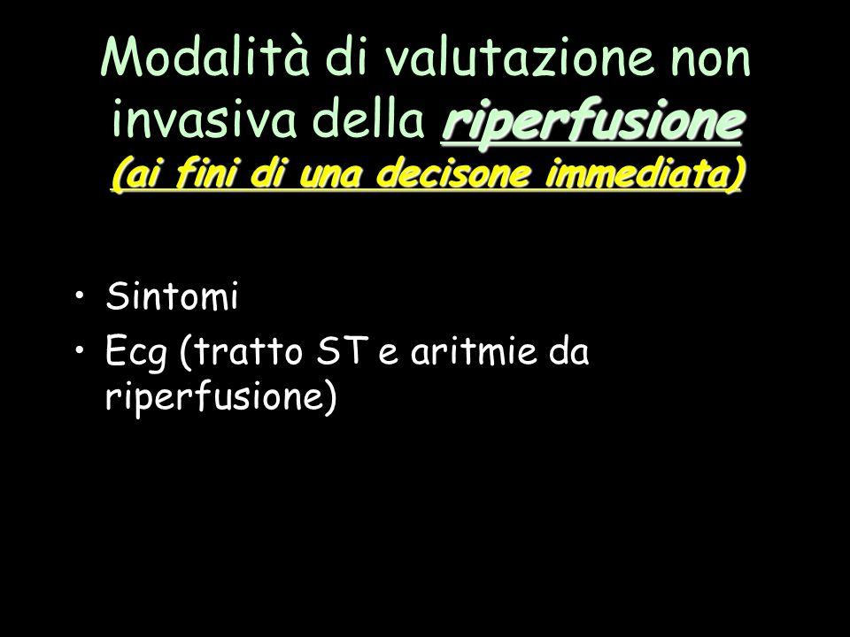 riperfusione (ai fini di una decisone immediata) Modalità di valutazione non invasiva della riperfusione (ai fini di una decisone immediata) Sintomi E