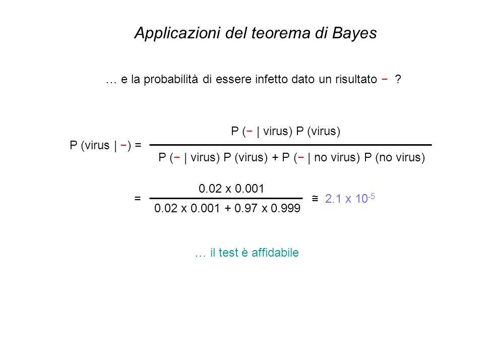 Applicazioni del teorema di Bayes P (virus | ) = P ( | virus) P (virus) P ( | virus) P (virus) + P ( | no virus) P (no virus) = 0.02 x 0.001 0.02 x 0.