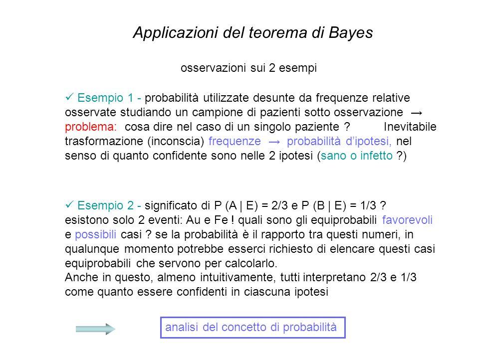 Applicazioni del teorema di Bayes osservazioni sui 2 esempi Esempio 1 - probabilità utilizzate desunte da frequenze relative osservate studiando un ca