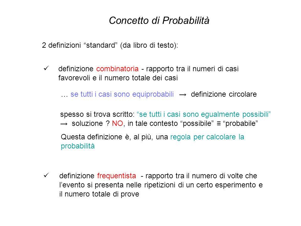 Concetto di Probabilità 2 definizioni standard (da libro di testo): definizione combinatoria - rapporto tra il numeri di casi favorevoli e il numero t