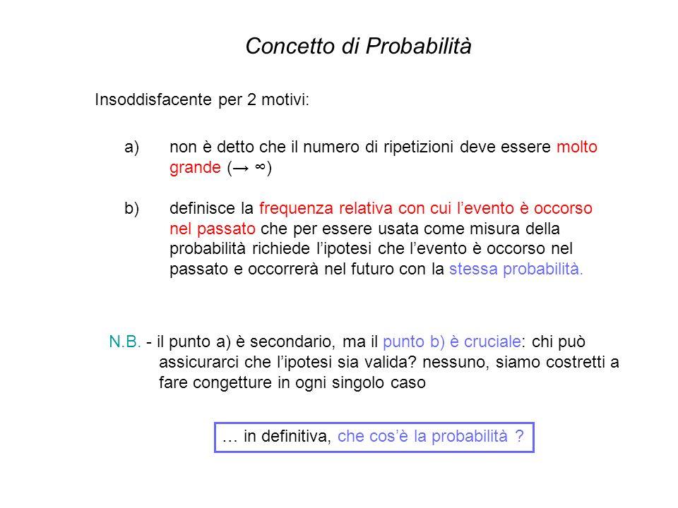Insoddisfacente per 2 motivi: Concetto di Probabilità a)non è detto che il numero di ripetizioni deve essere molto grande ( ) b)definisce la frequenza